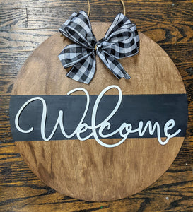 3D Door hanger Welcome (split colors)