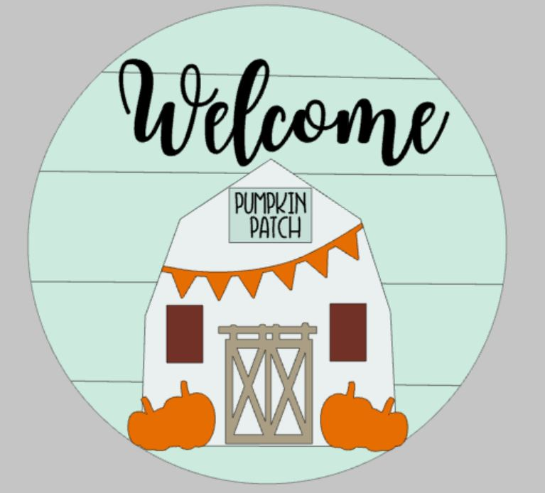 3D Door hanger Welcome Fall barn ROUND