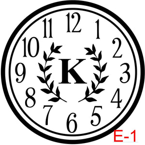 Clock - Numbers with Circle border insert laurel with letter (E-1)