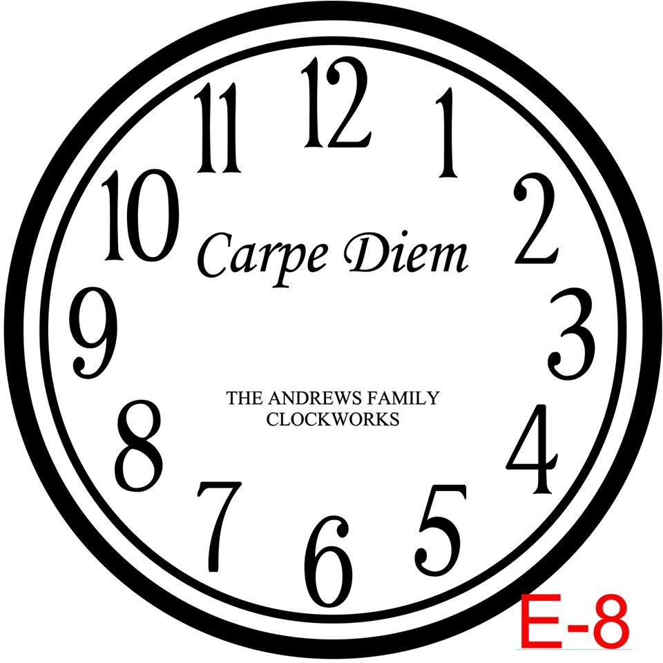 Clock - Numbers with Circle border insert Carpe Diem with family name est date (E-8)