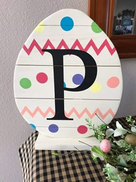 Spring Connection Easter Egg - Cheveron Polka Dot Letter Egg with stand