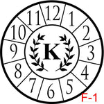 Clock - Numbers with border insert laurel with letter (F-1)