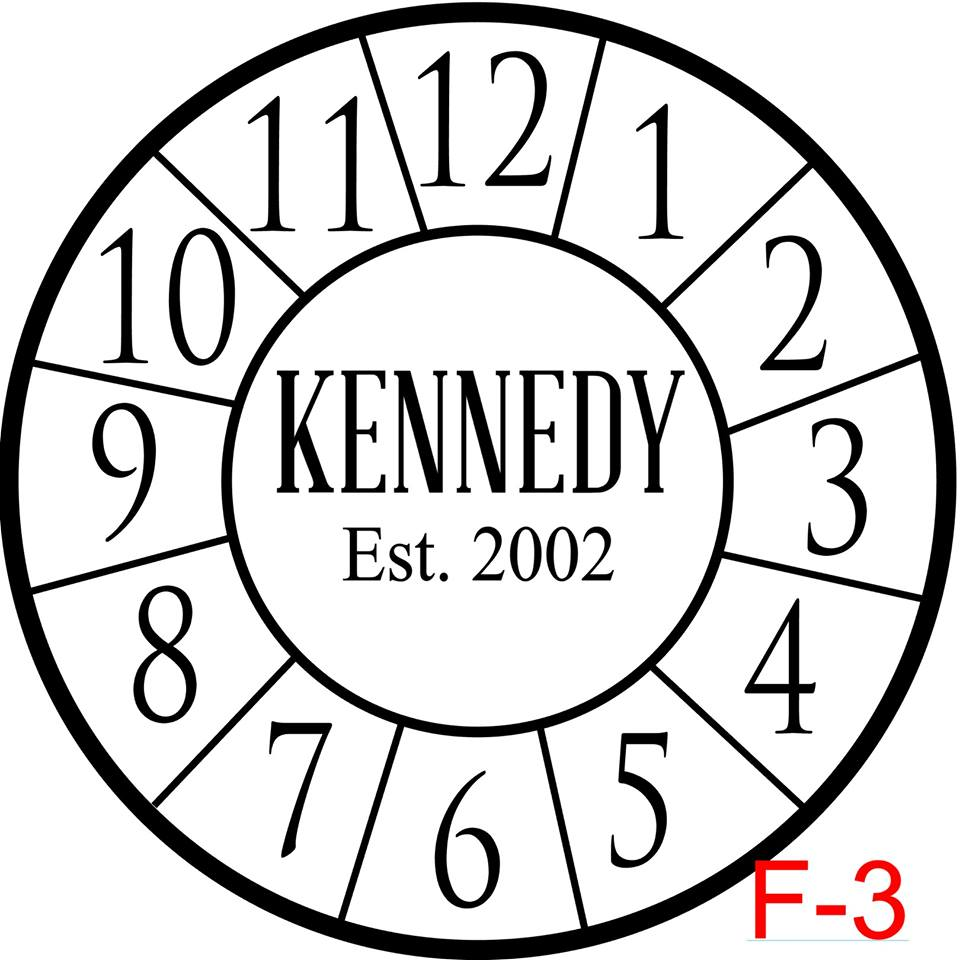 Clock - Numbers with border insert Last name in caps with est date (F-3)