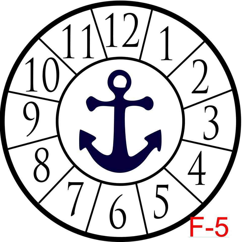 Clock - Numbers with border insert anchor (F-5)