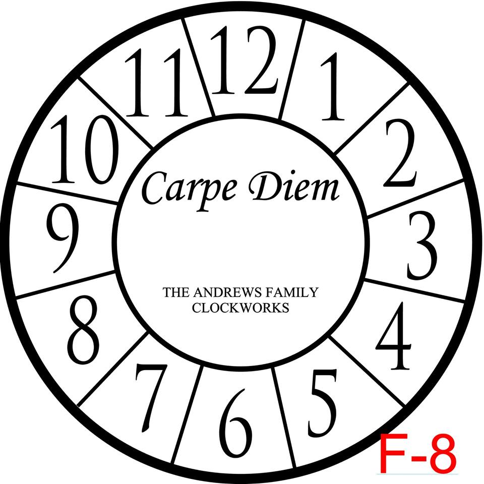 Clock - Numbers with border insert Carpe Diem with family name est date (F-8)