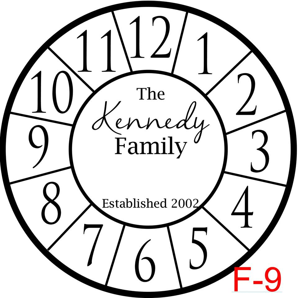 Clock - Numbers with border insert The Kennedy family est date (cursive last name) (F-9)