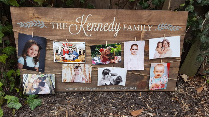 Family name where life begins and love never ends - Photo Board