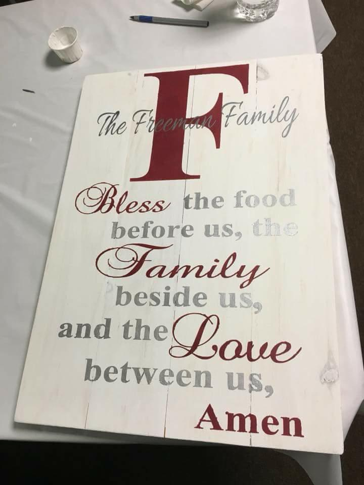 Bless the food with family name and initial