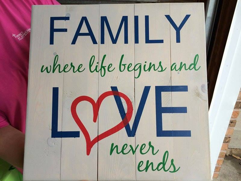 Family where life begins and love never ends-Heart in love