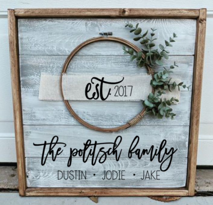 Farmhouse  Wreath sign - Family first and last name and est date