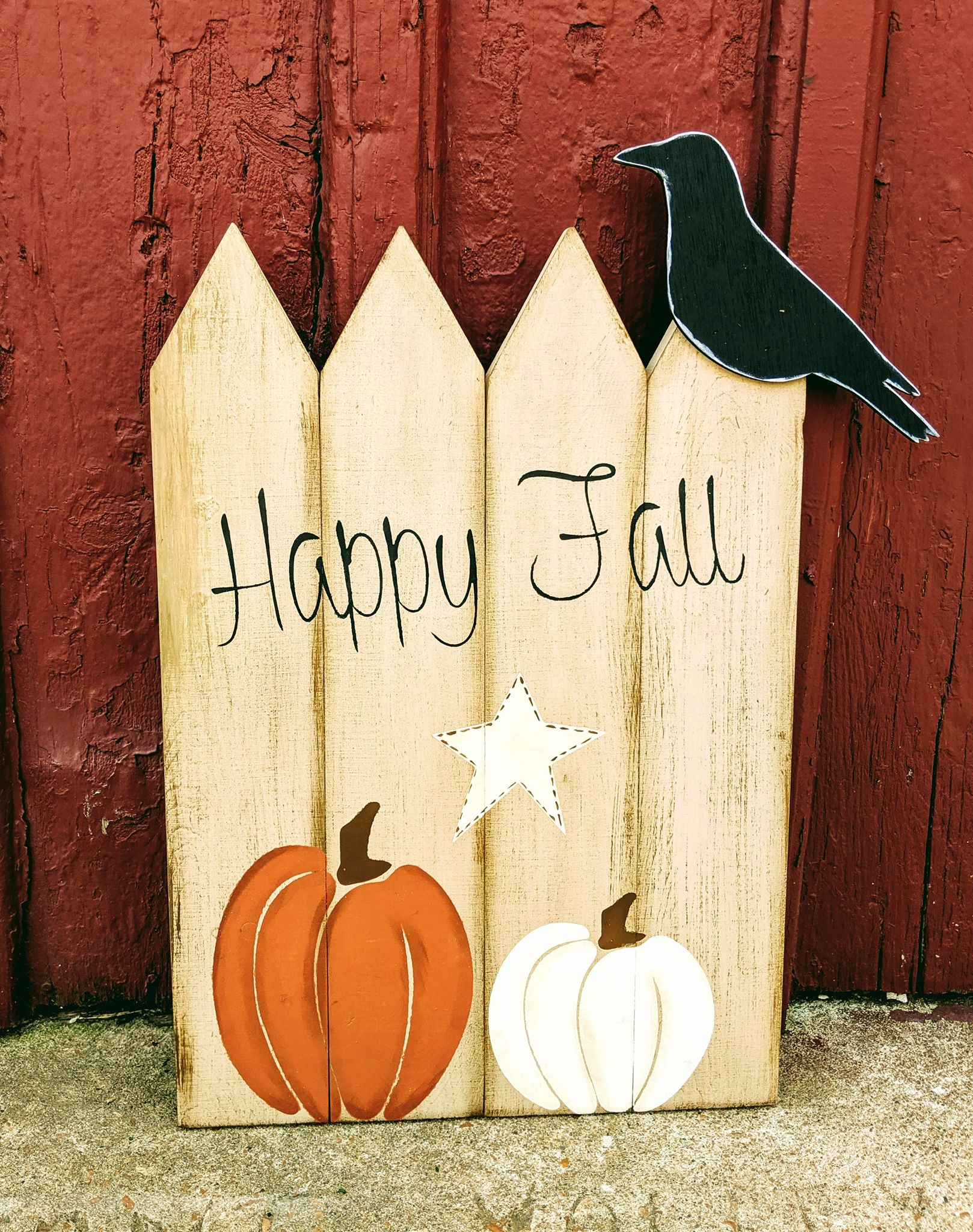 3D Happy Fall with pumpkins and crow