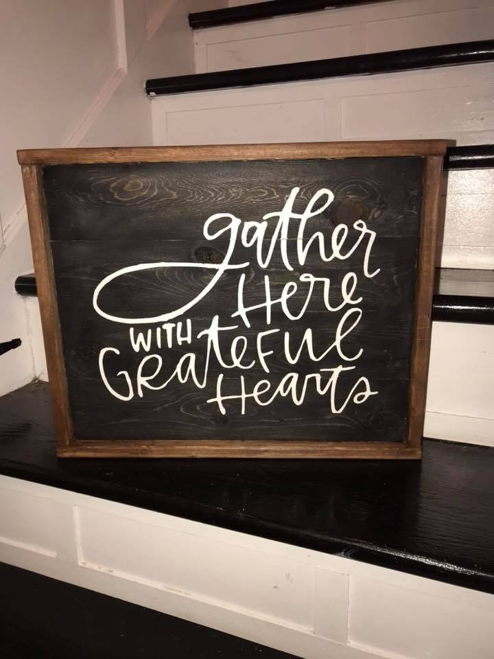 Gather here with grateful hearts piled to right