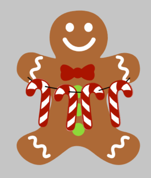 3D Door hanger Gingerbread Man with candy canes