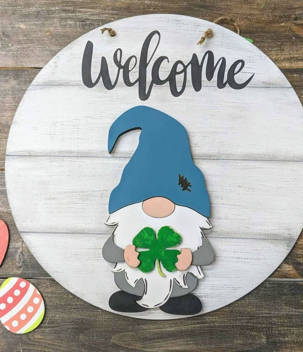 3D Seasnonal Interchangeable Gnome Cursive Welcome Door hanger