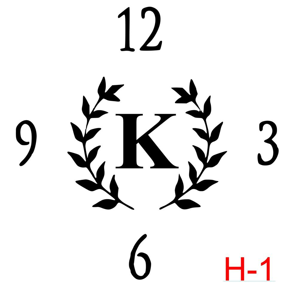 Clock - Numbers 12, 3, 6, 9 insert laurel with letter (H-1)