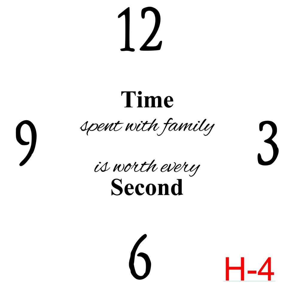 Clock - Numbers 12, 3, 6, 9 insert time spent with family is worth every second (H-4)