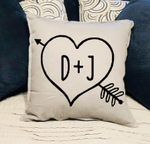 Heart with arrow and couples initials
