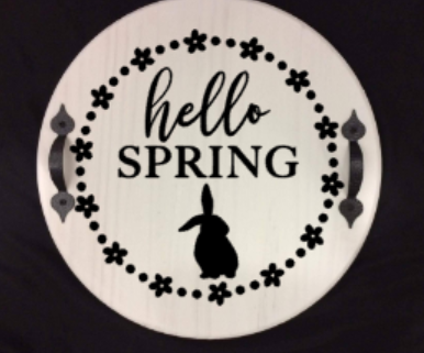 Hello Spring with bunny Round