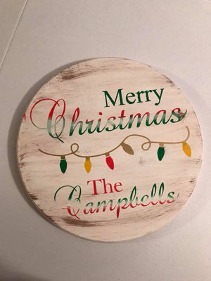 Merry Christmas Family name with lights-round