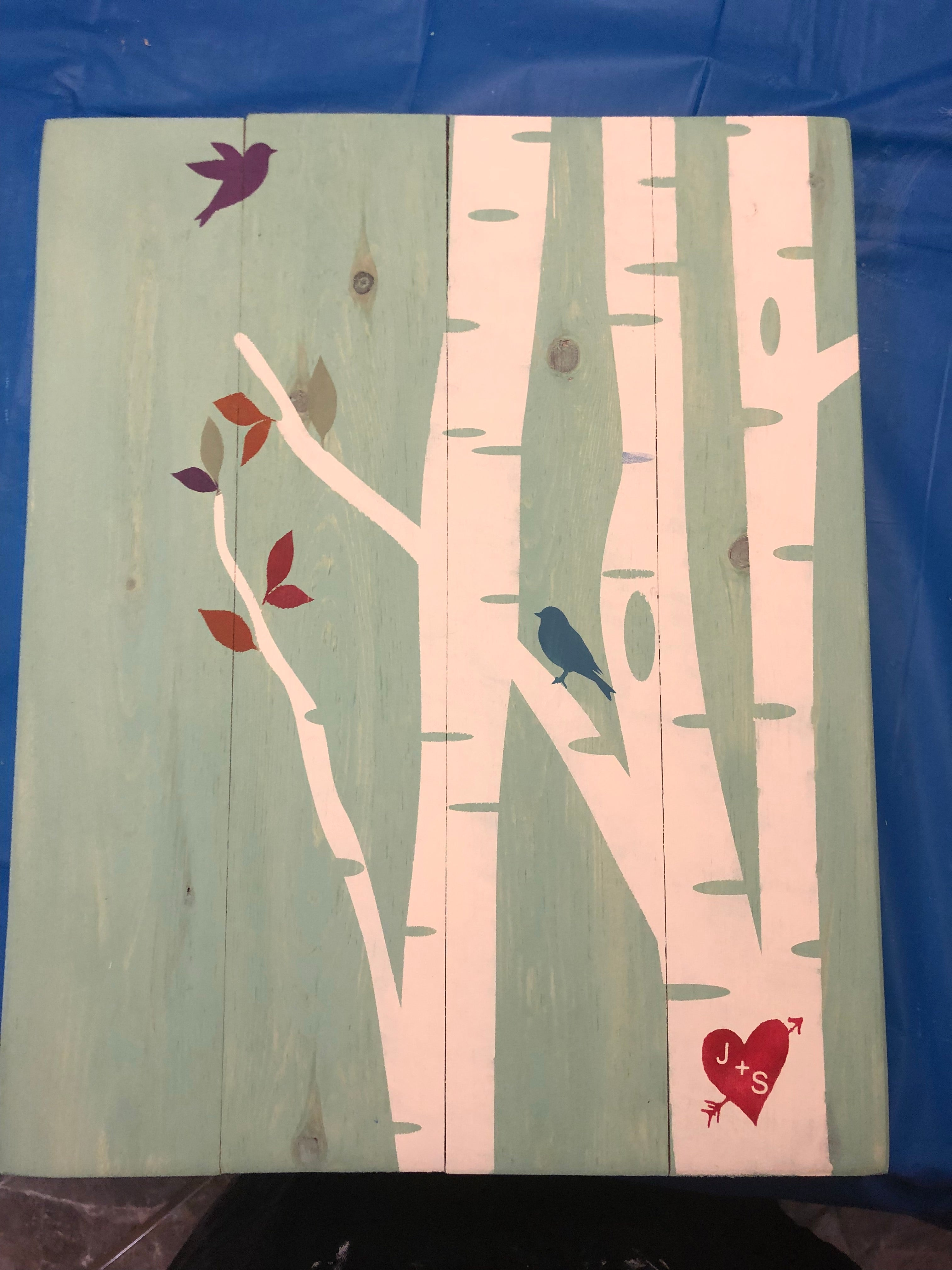 Tree with birds-couple initials in heart