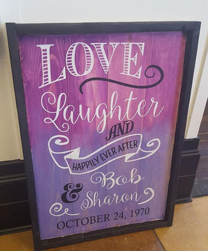 Love laughter and happily ever after- couples  name and date