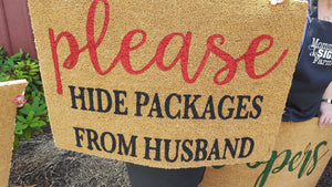 Please hide packages from husband