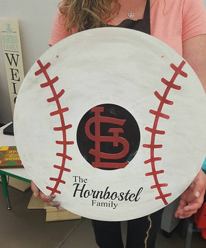 Door hanger STL Cardinals baseball with family name