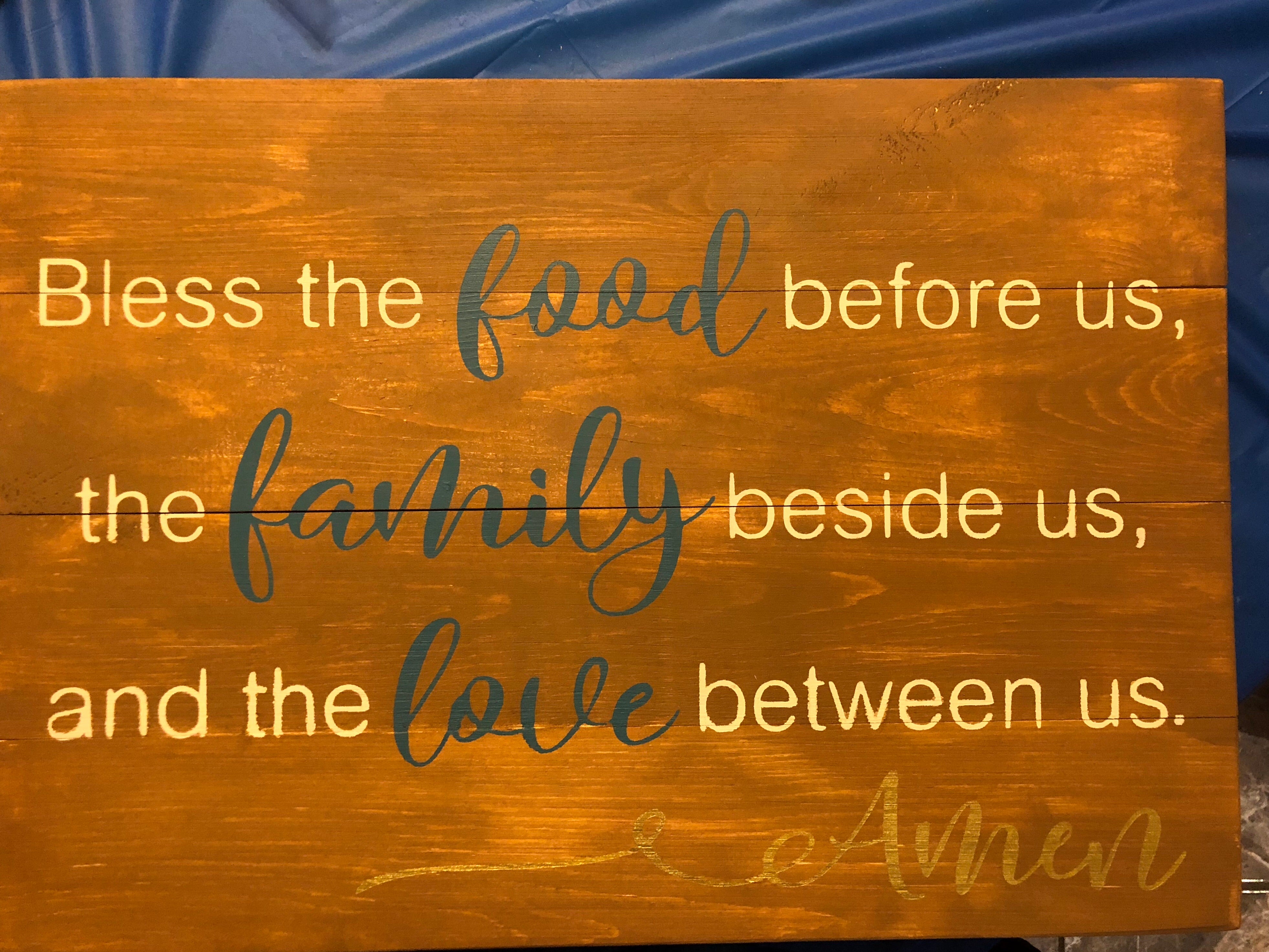 Bless the food before us the family beside us and the love before us horizontal design