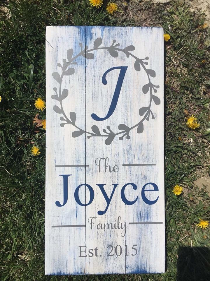 Family name with letter wreath design and date