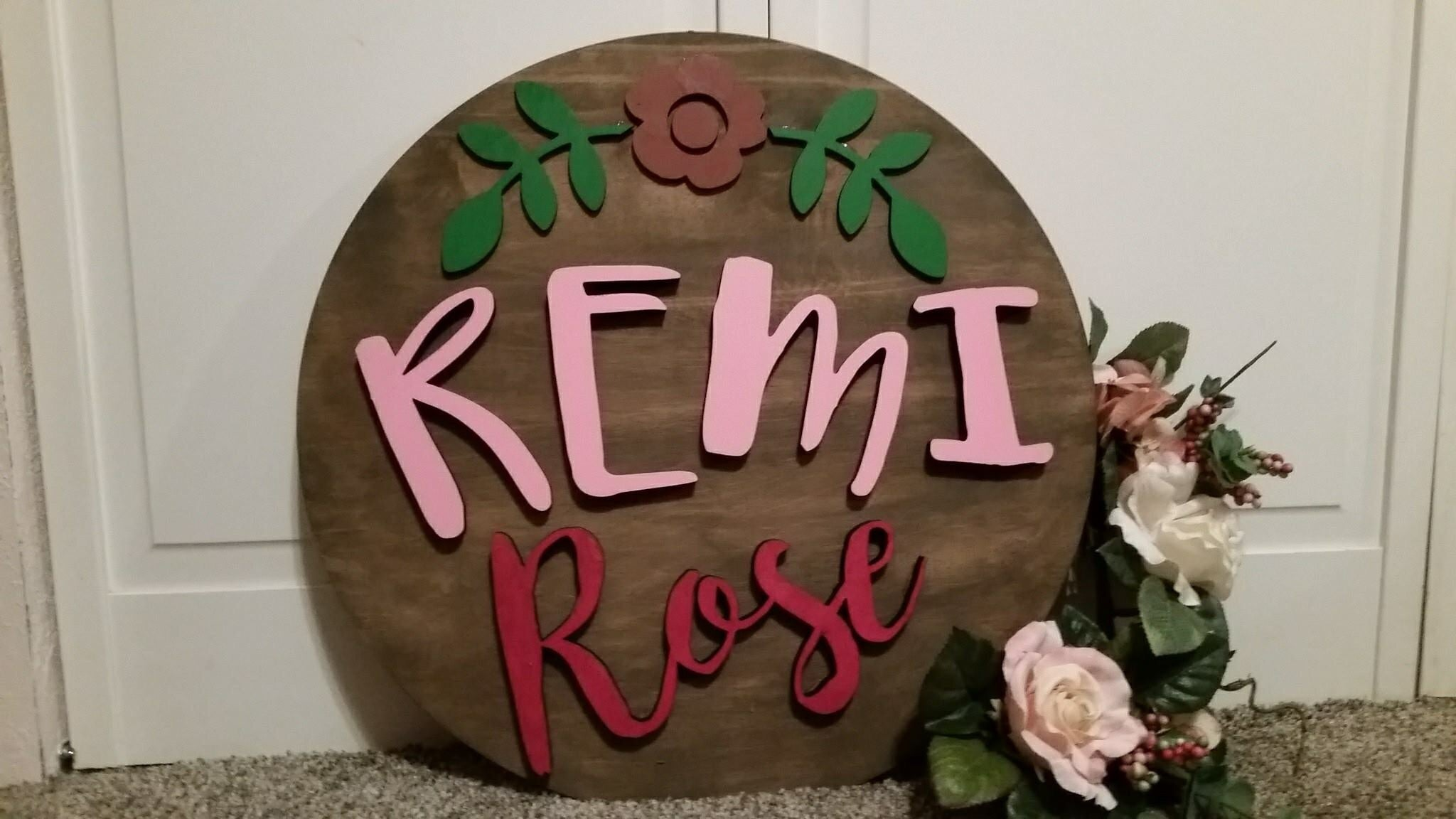 3D Name with flower round sign