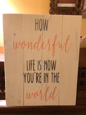 How wonderful life is now you're in the world