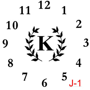 Clock - Numbers insert laurel with letter (J-1)