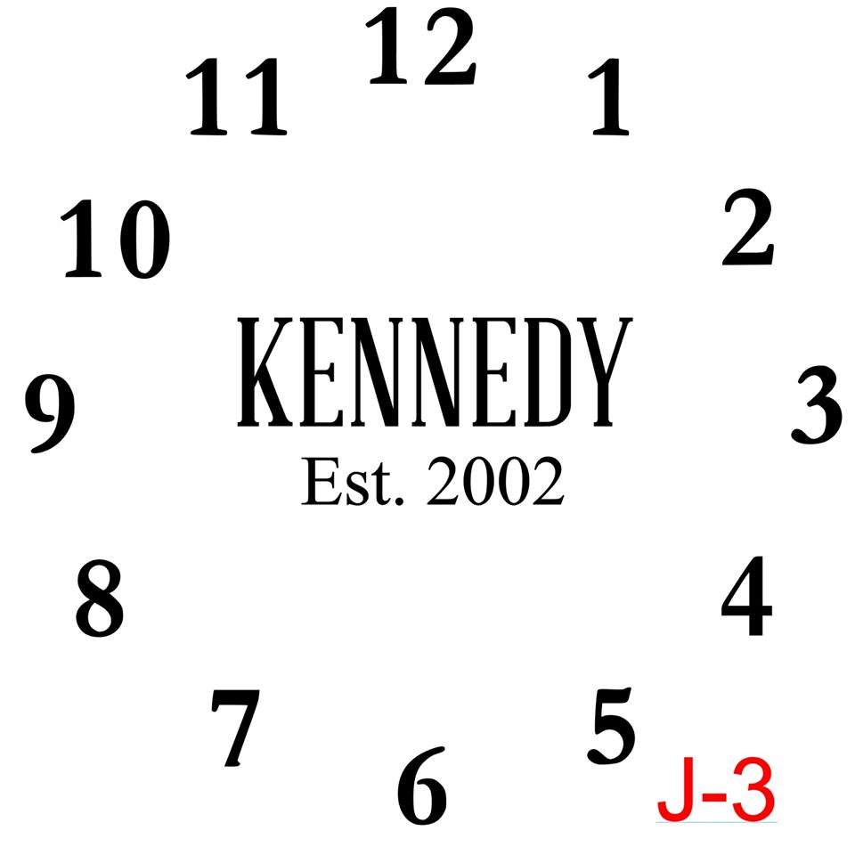 Clock - Numbers insert Last name all caps est date (J-3)
