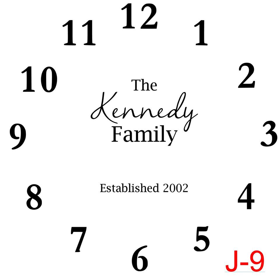 Clock - Numbers insert The Kennedy family est date (cursive last name) (J-9)