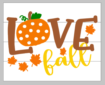 Love fall with pumpkin and leaves