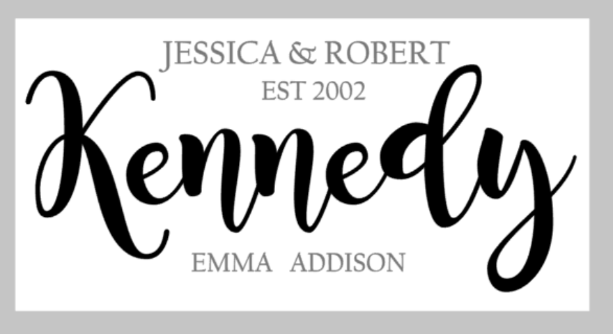 Oversized sign - Family name and est date with child(ren) names