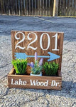 14x14 Planter Box - House number with address and arrow