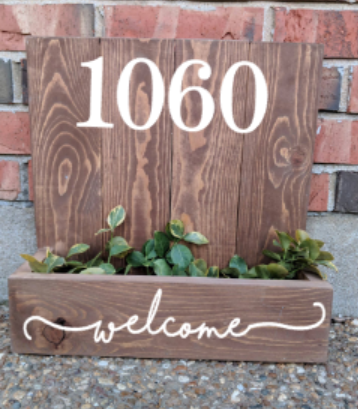 Succulent Planter Box- house number welcome