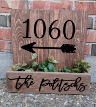 Succulent Planter Box - House number with family name and arrow