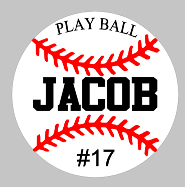 Play ball with child's name and baseball number ROUND