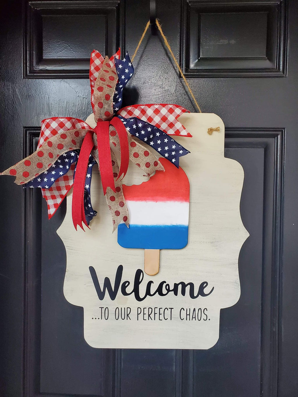 3D Seasonal interchangeable Scalloped Door Hanger-Welcome to our perfect chaos (LARGE 3D PCS)