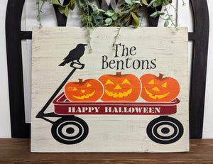 Pumpkin wagon with Family name