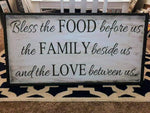 Oversized sign - Bless the food before us