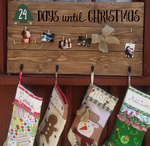 Days until Christmas chalkboard stocking and card hanger with 4 hooks