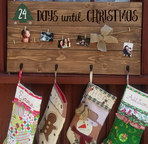 Days Till Christmas Chalkboard.Days Until Christmas Chalkboard Stocking And Card Hanger With 4 Hooks