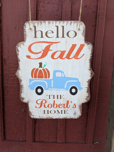 Door hanger Hello Fall truck with pumpkin and family name