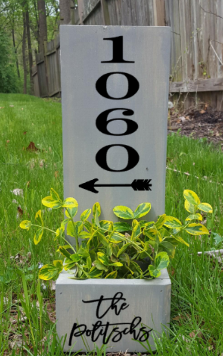 Succulent Planter Box- House number with arrow and family name