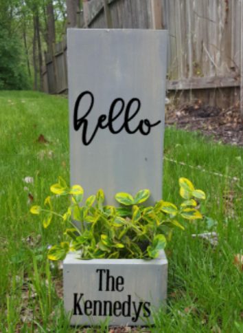 Succulent Planter Box- Hello with family name