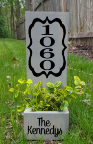 Succulent Planter Box- House number with design and family name