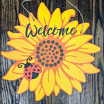 Door hanger Sunflower with Ladybug and Family Name